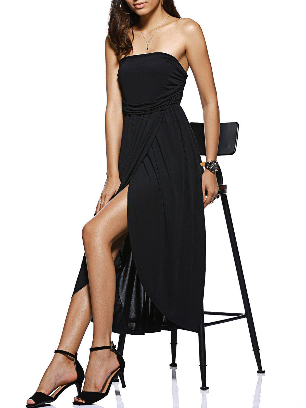 Trendy High Low Strapless Black Dress
