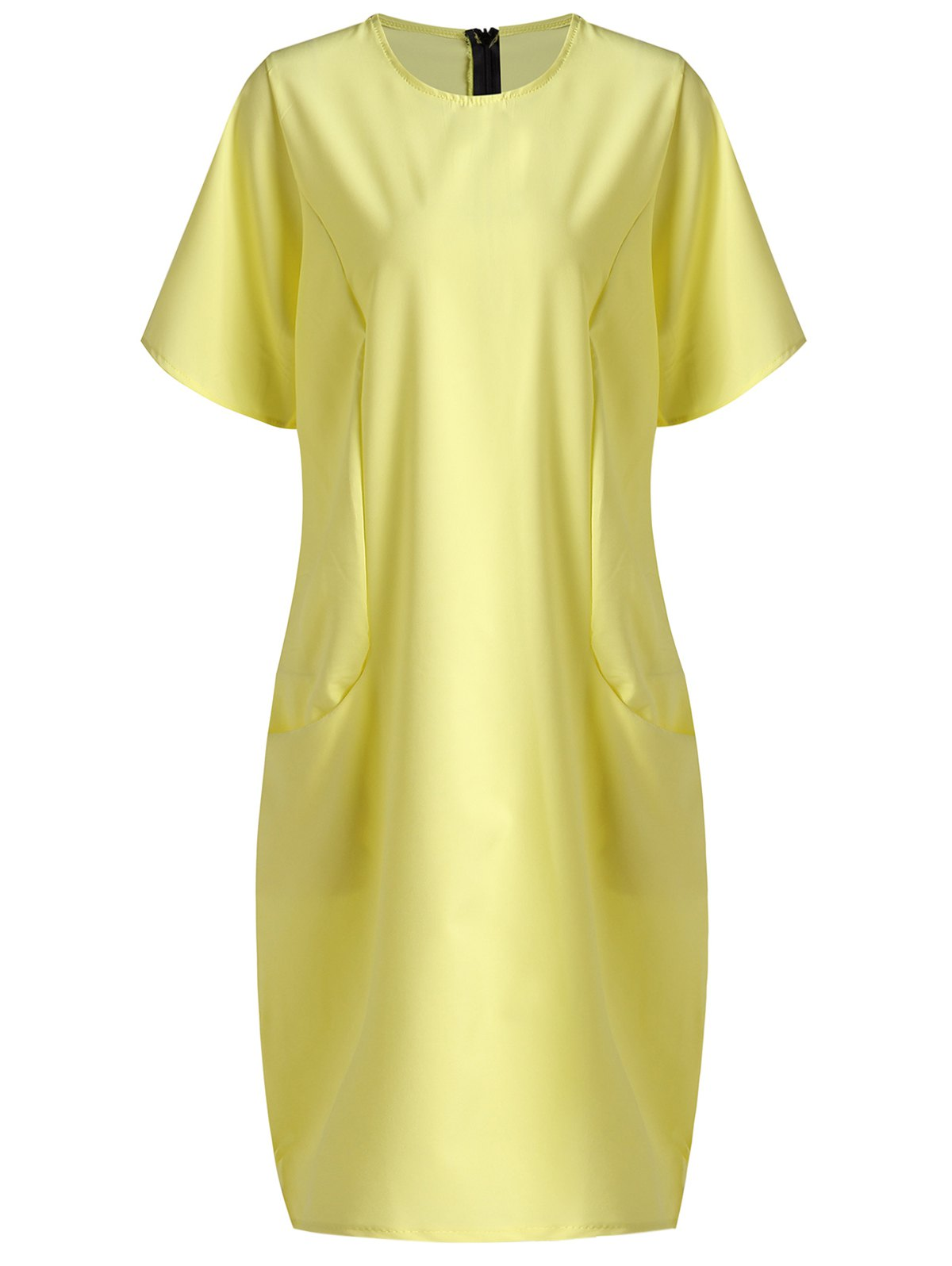 Fashionable Women's Scoop Neck Short Sleeve Midi Dress - YELLOW XL