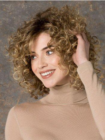 Fluffy Curly Kanekalon Synthetic Stunning Blonde Mixed Short Wig For Women - COLORMIX