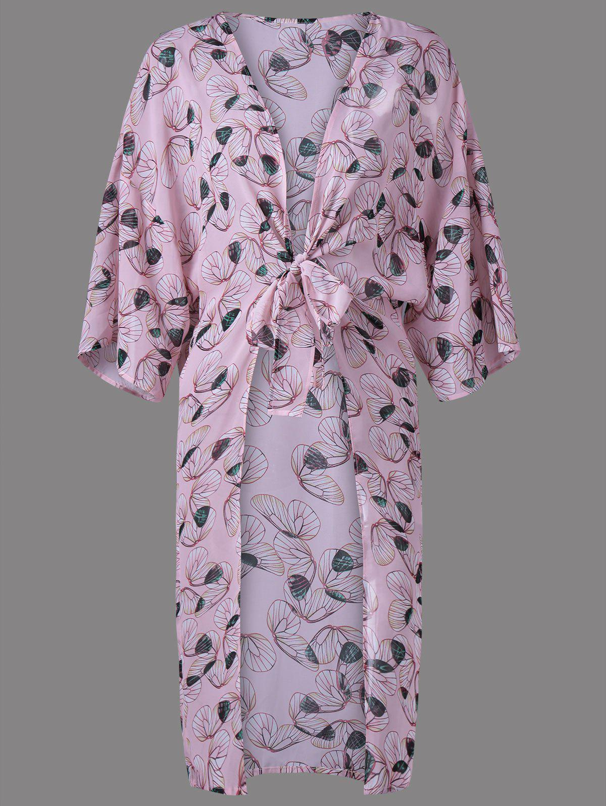 Trendy Collarless Print Thin Blouse For WomenWomen<br><br><br>Size: S<br>Color: SHALLOW PINK