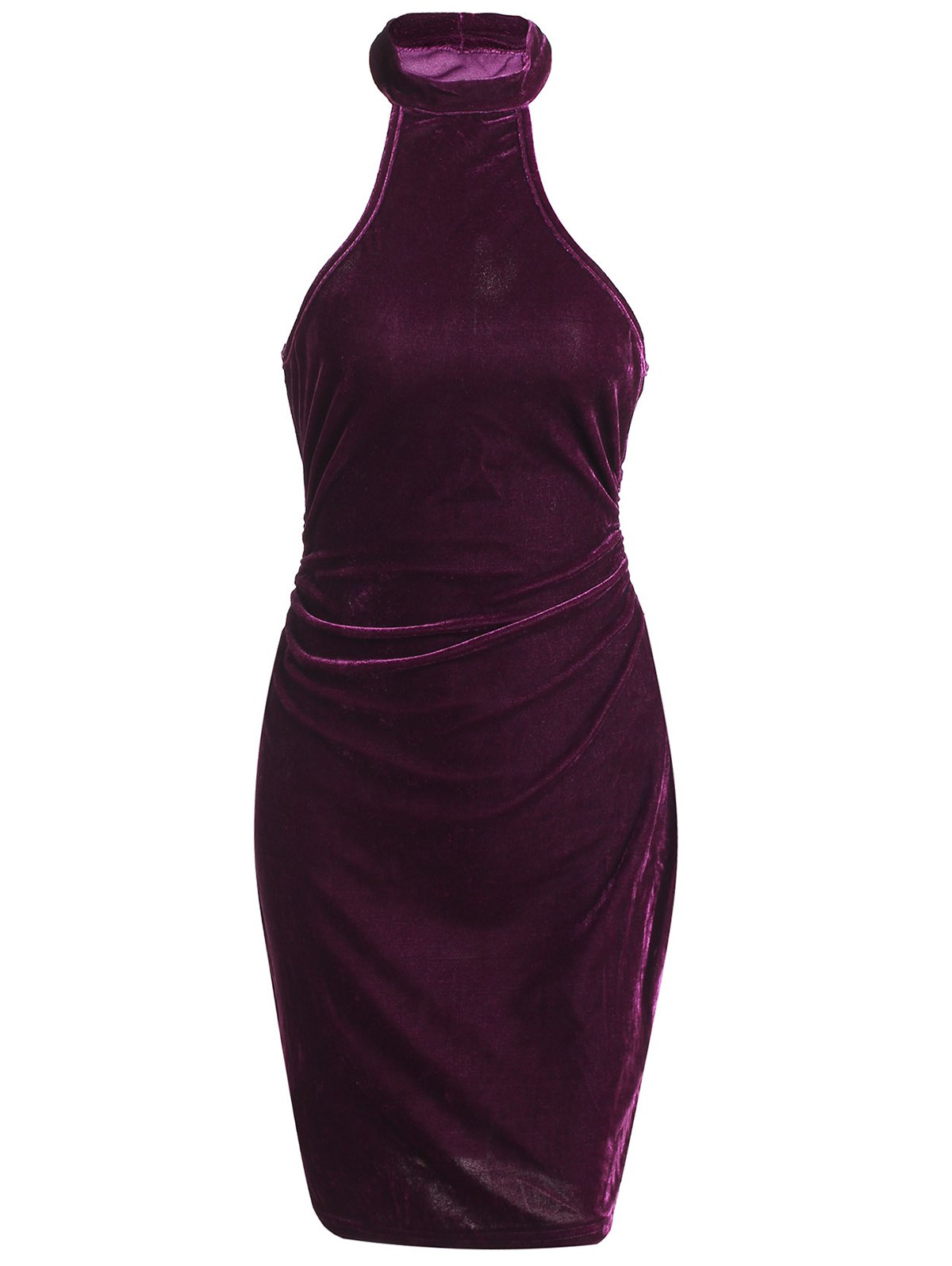 Fashion Sleeveless Stand-Up Neck Pure Color Women's Club Dress