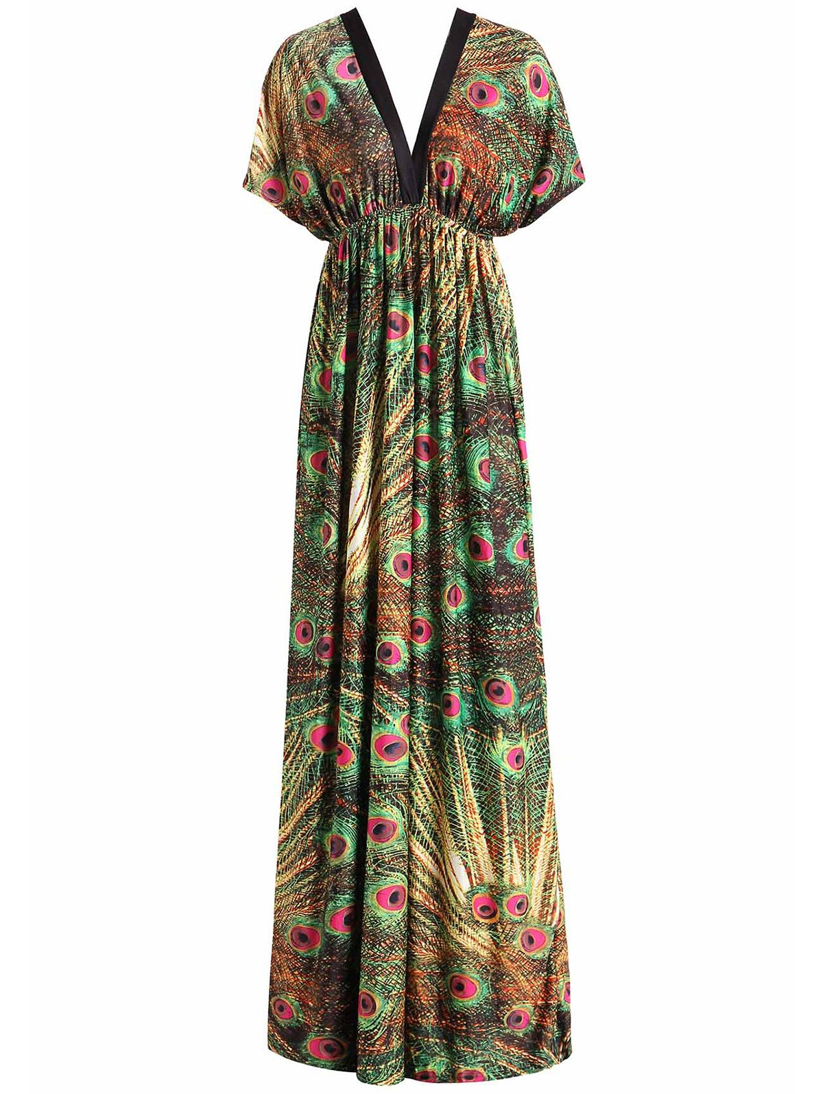 Bohemian Style Peacock Print V-Neck Short Sleeve Dress For Women - COLORMIX XL