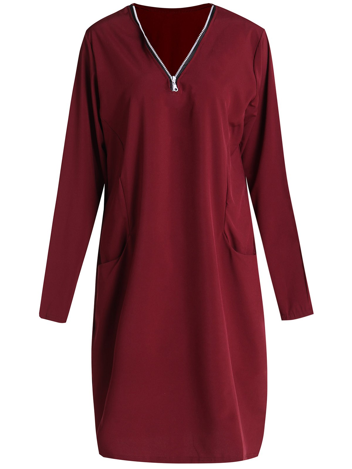 Stylish V-Neck Long Sleeve Plus Size Solid Color Women's Dress - WINE RED 4XL