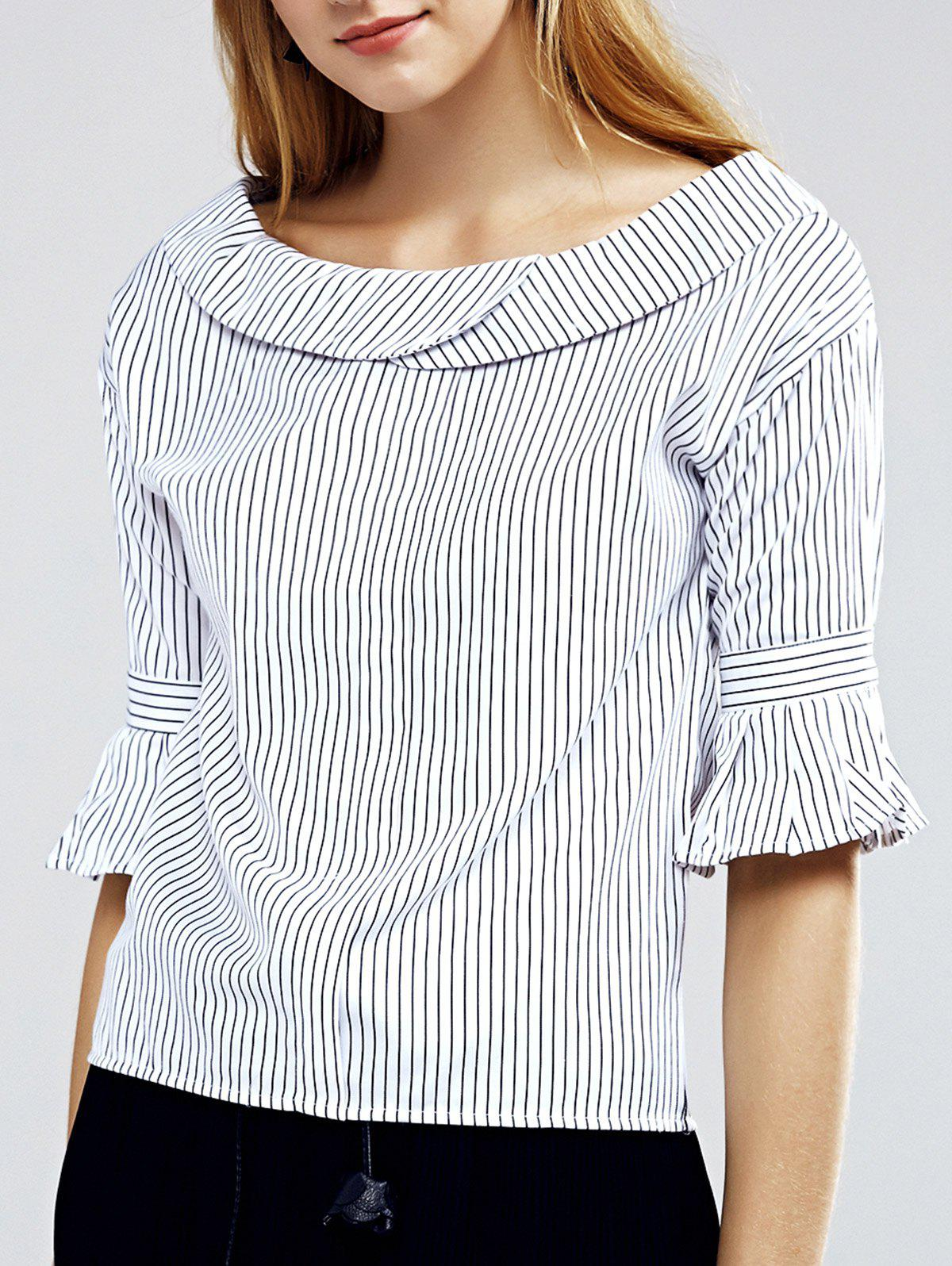 Elegant Women's Flare Sleeve Striped Blouse - STRIPE L