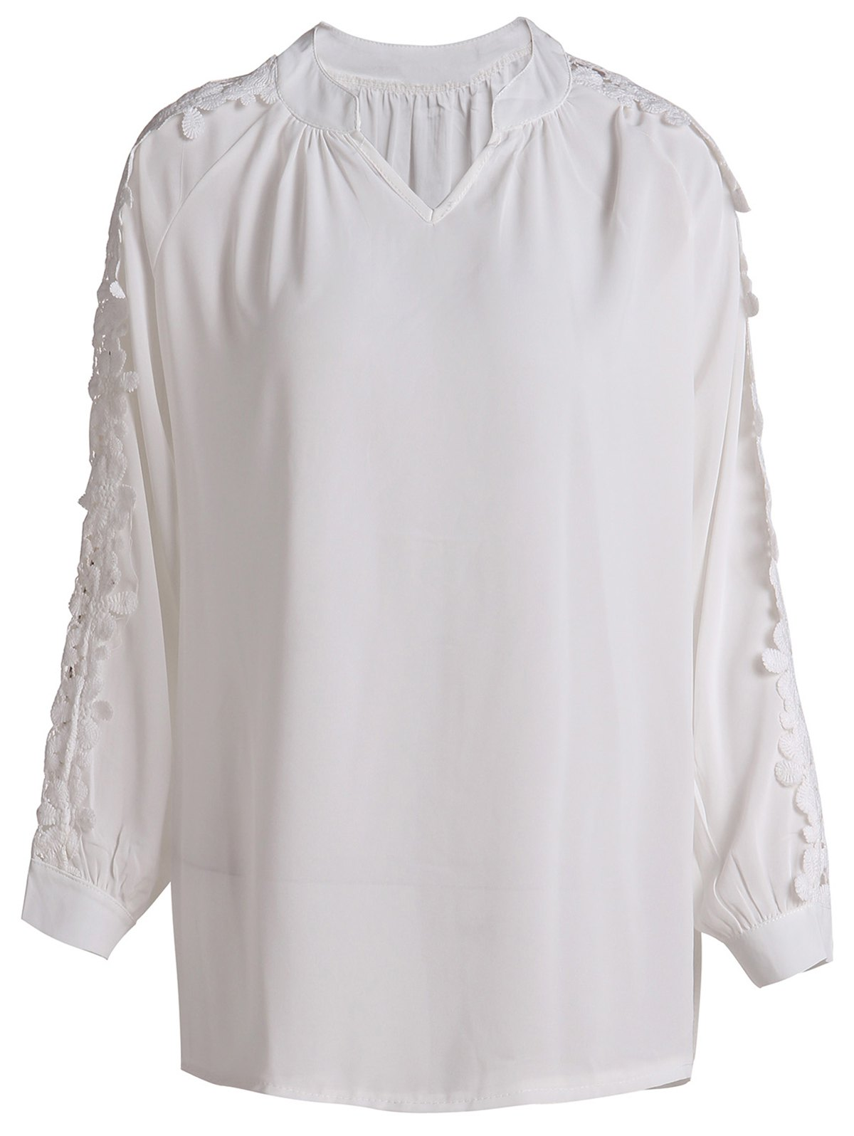 Refreshing White V-Neck Hollow Long Sleeve Blouse For Women - WHITE L