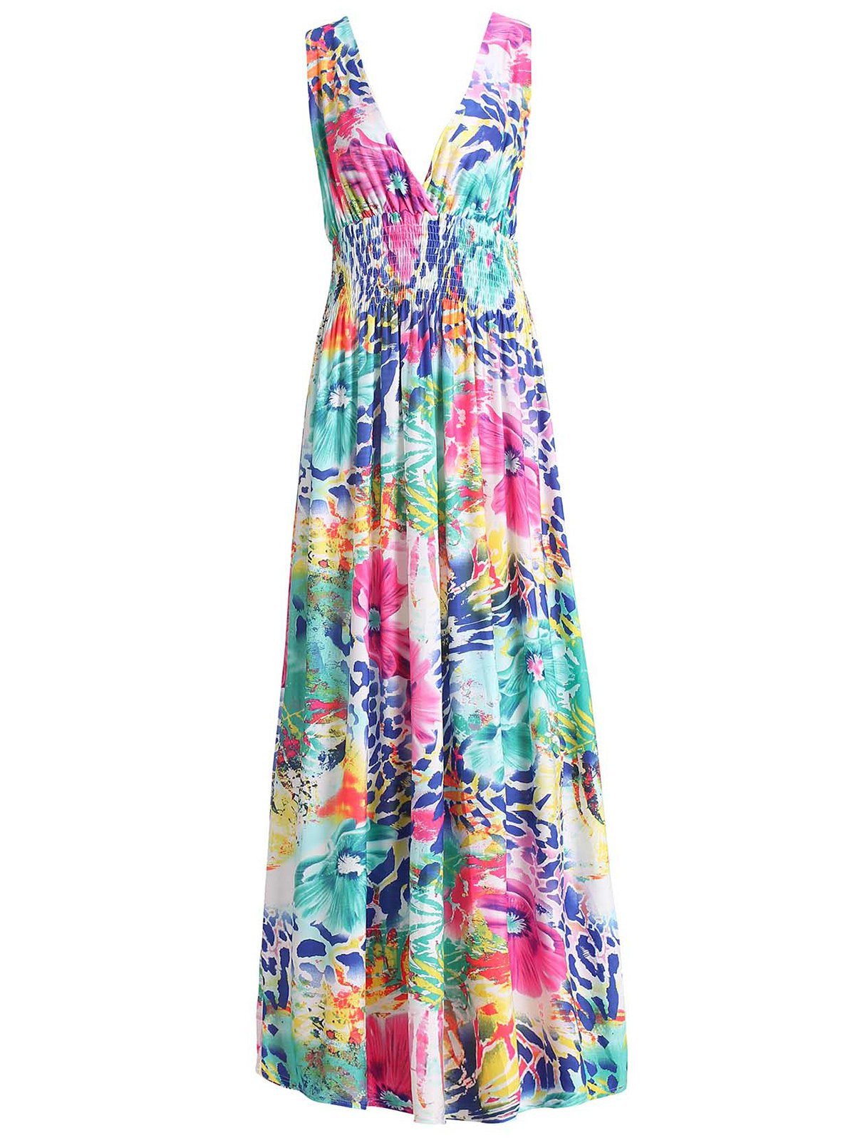 Sexy Colorful Floral Print Plunging Neck Sleeveless Dress For Women