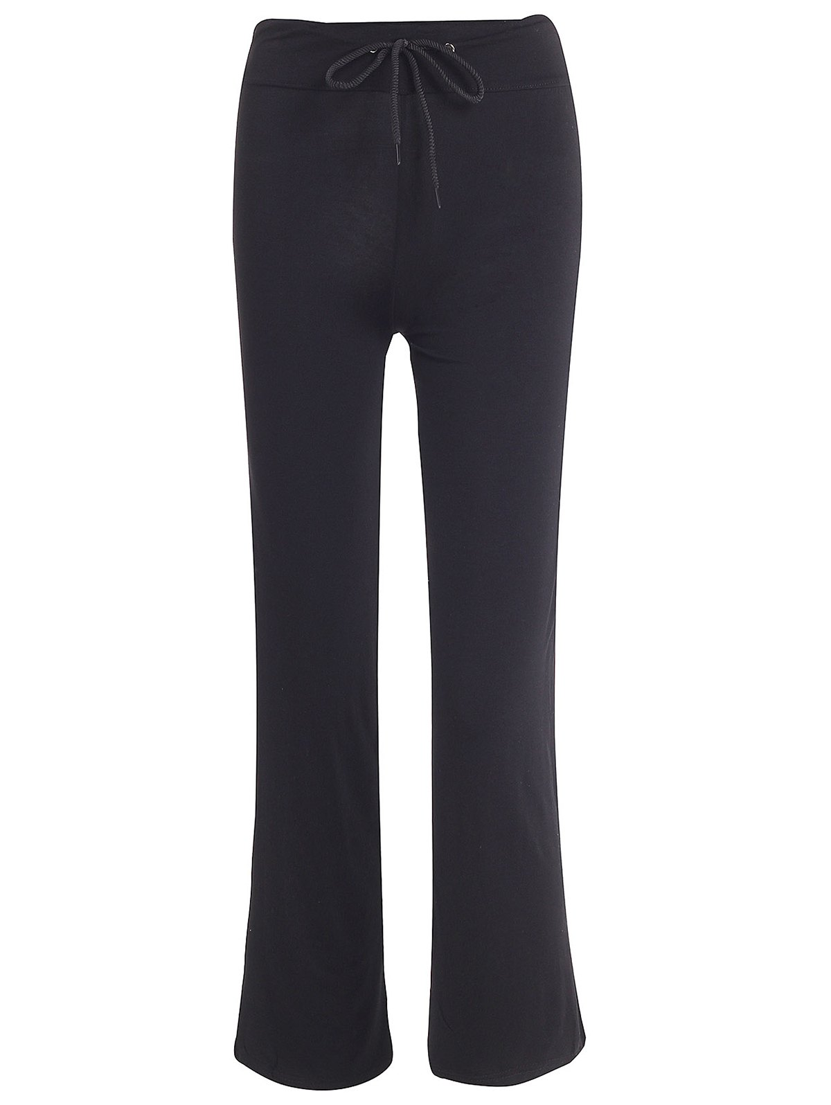 Stylish Mid-Waisted Drawstring Solid Color Women's Yoga Pants - BLACK M