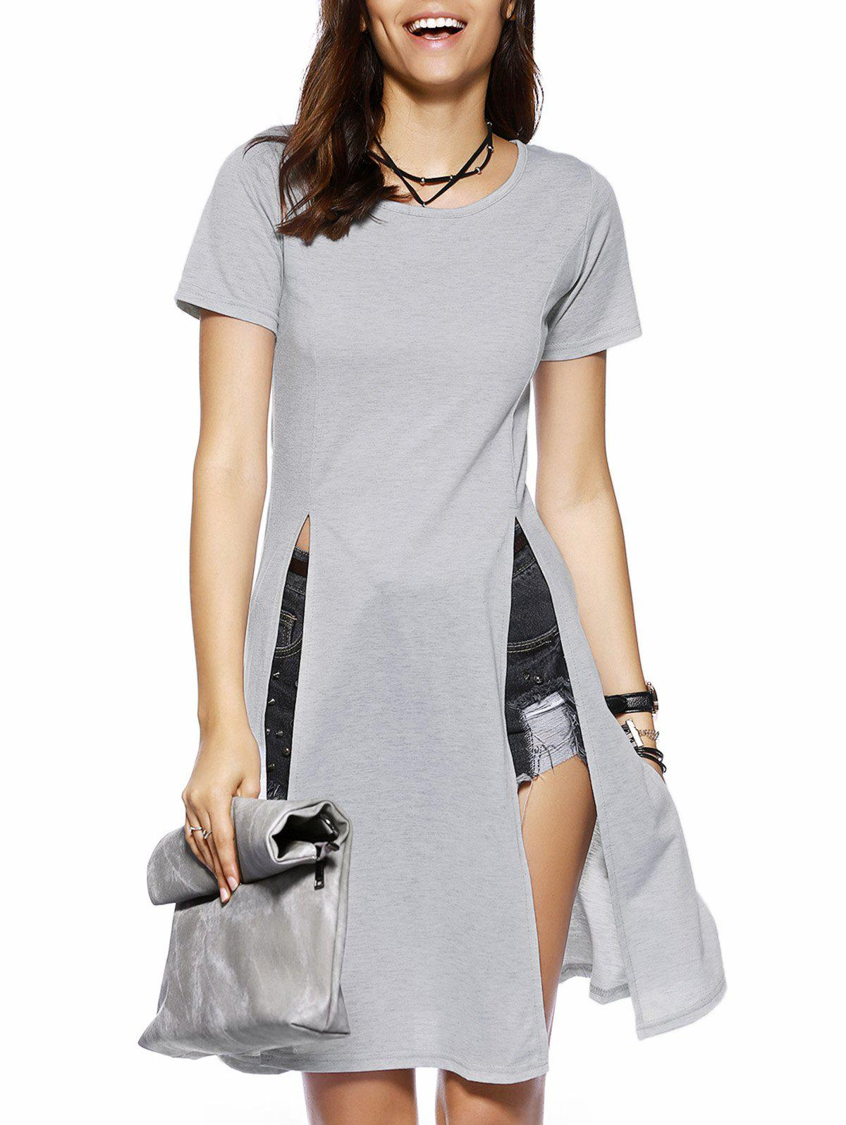 Longline High Slit T-Shirt - GRAY XL