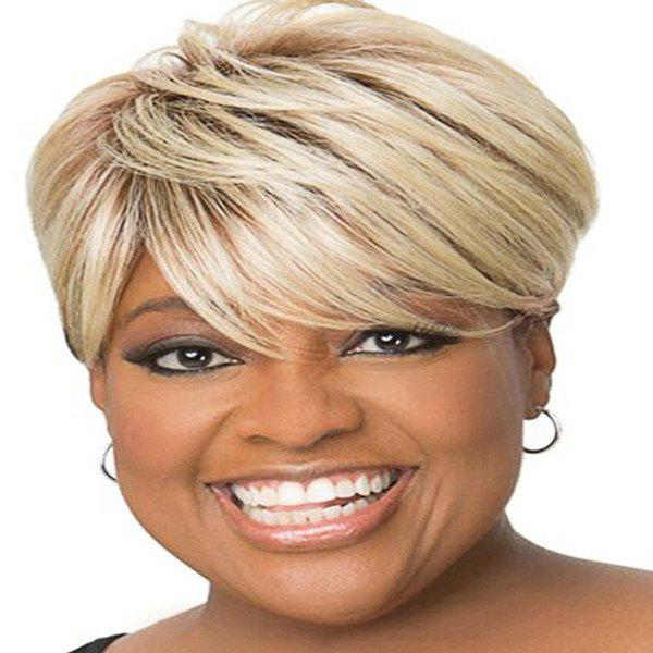 Fluffy Straight Blonde Mixed Spiffy Short Side Bang Capless Human Hair Wig For Women - COLORMIX