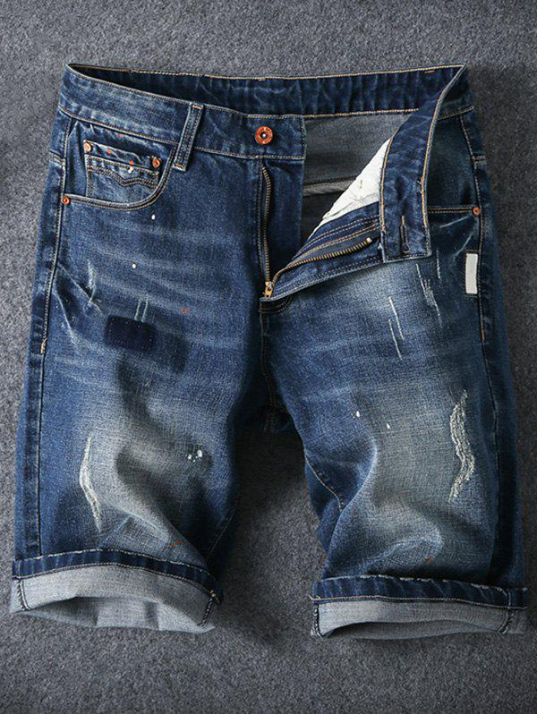 Men's Summer Ripped Zip Fly Straight Legs Denim Shorts - DENIM BLUE 46