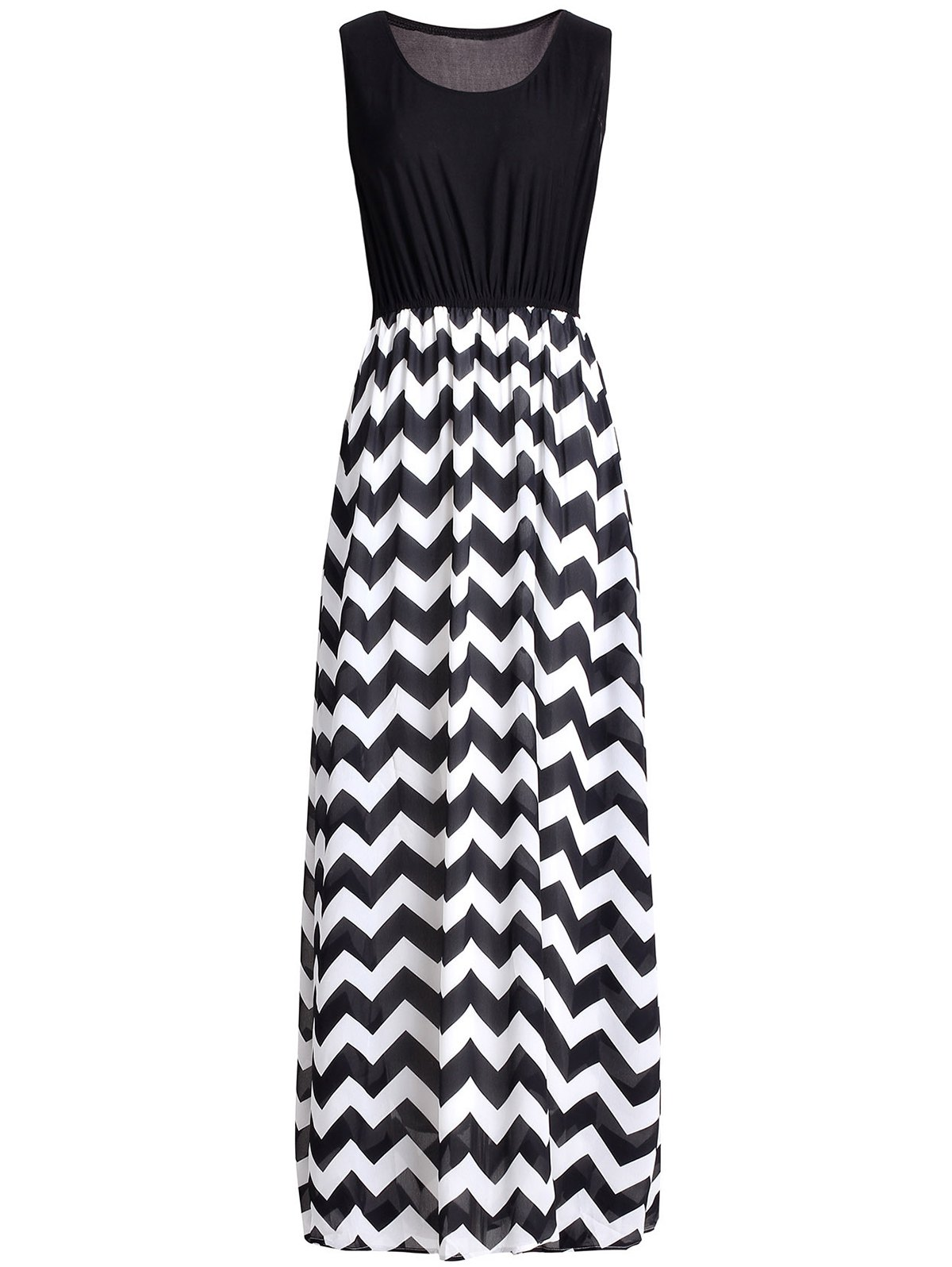 Simple Zigzag U-Neck Sleeveless Dress For Women - BLACK 4XL