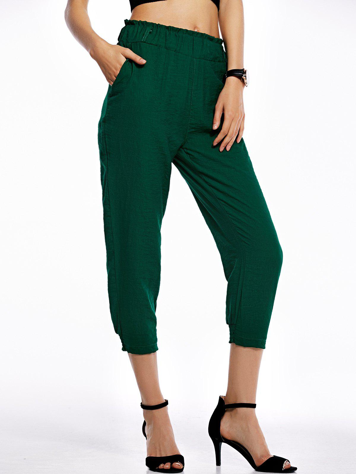 Casual Pure Color Loose Fittting Capri Pants For Women - DEEP GREEN L