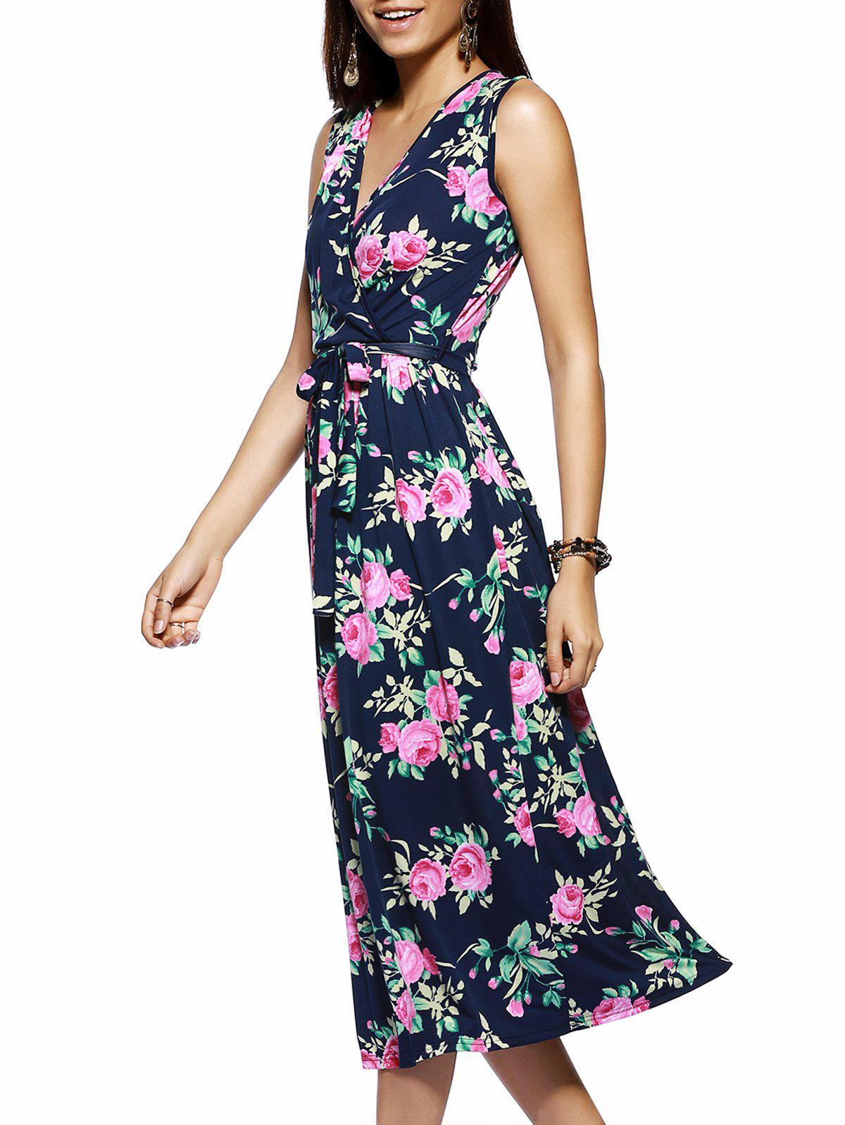 Bohemian Sleeveless V Neck Floral Print Maxi Dress - PURPLISH BLUE XL