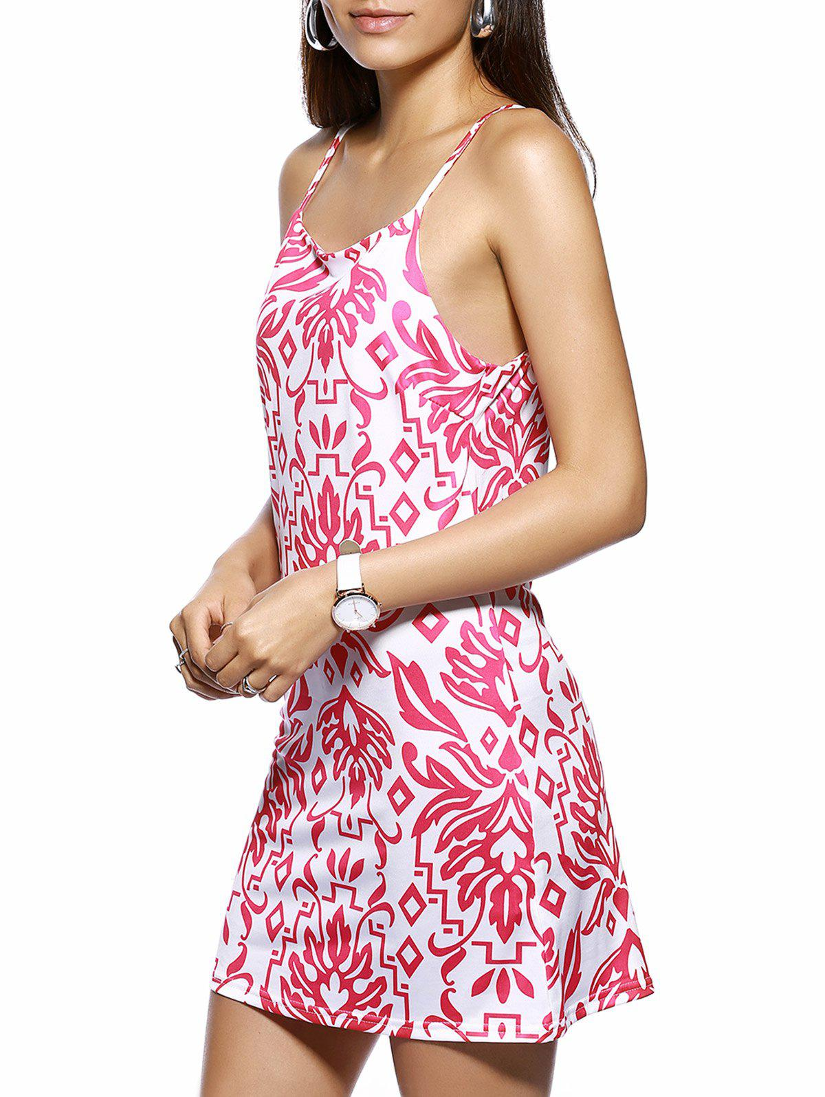 Trendy Spaghetti Strap Tribal Print Dress - PINK M