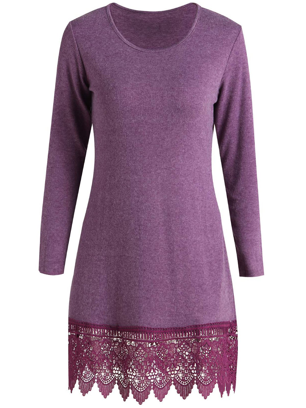 Stylish Scoop Neck Long Sleeve Laciness Solid Color Women's Dress