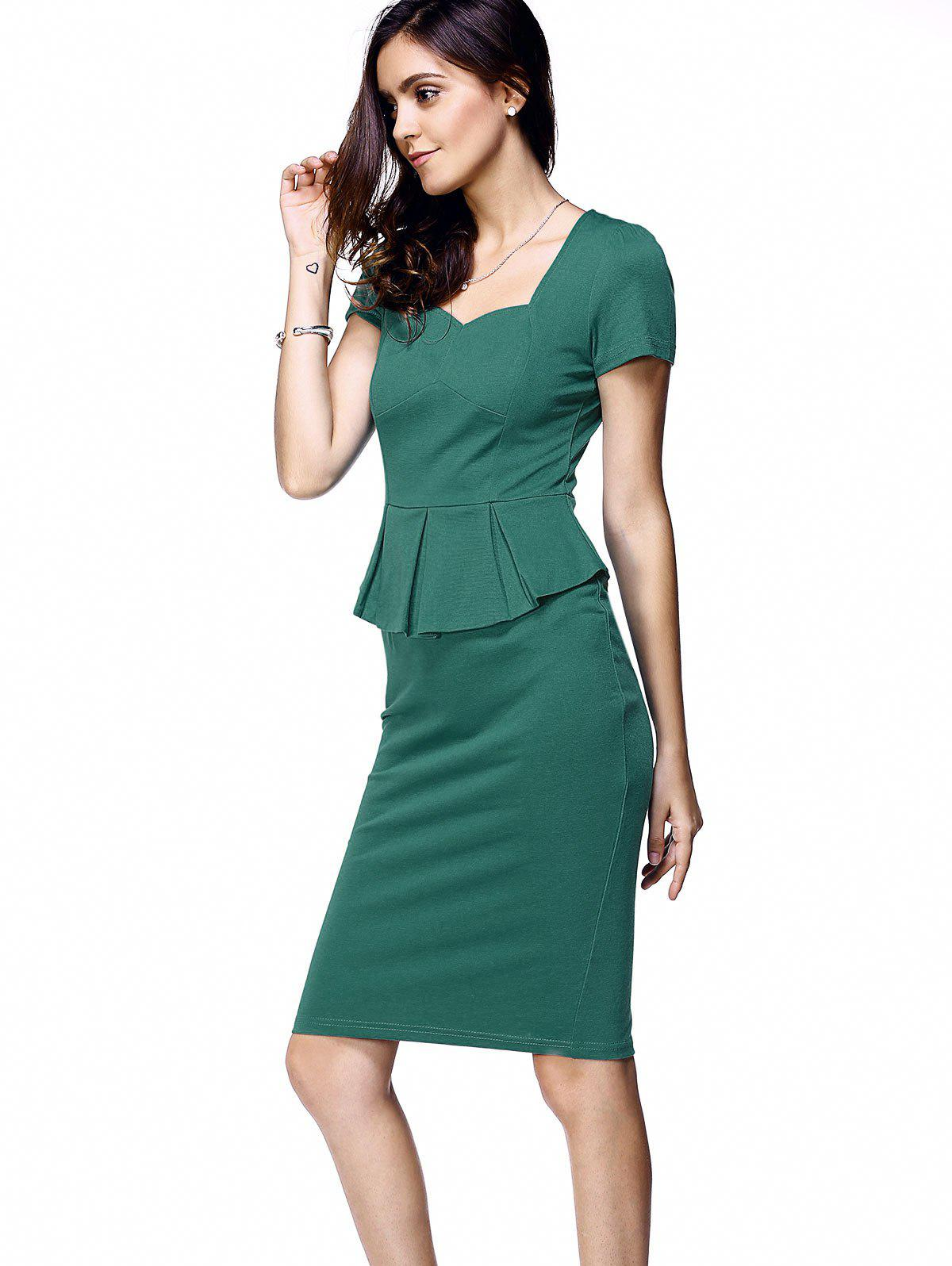 Elegant Short Sleeve Flounce Waist Women's Bodycon Dress - LAKE GREEN S