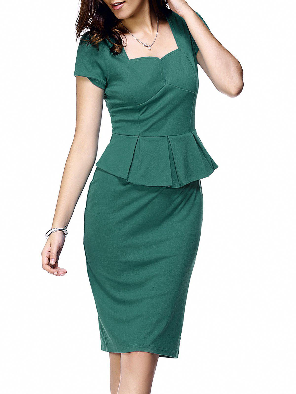 Elegant Short Sleeve Flounce Waist Women's Bodycon Dress - LAKE GREEN 2XL