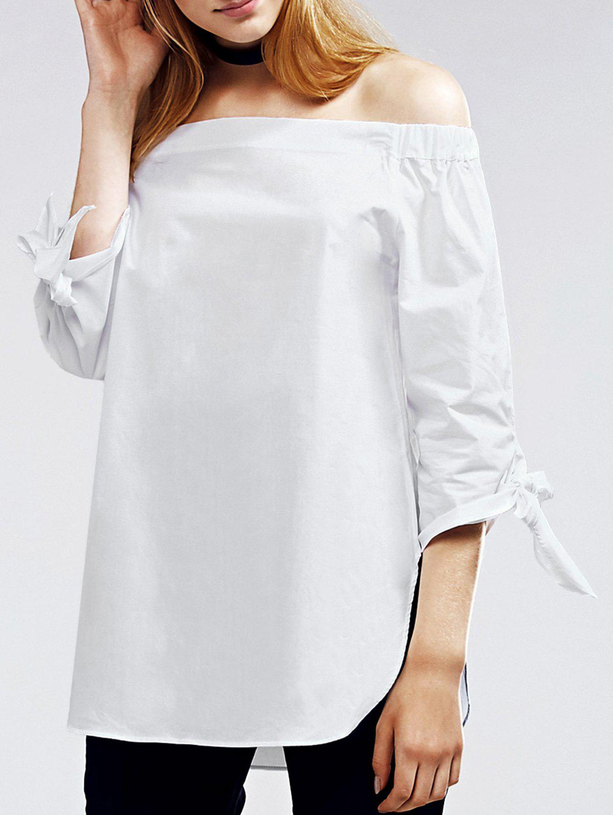 White Off The Shoulder Self Tie Blouse - WHITE S