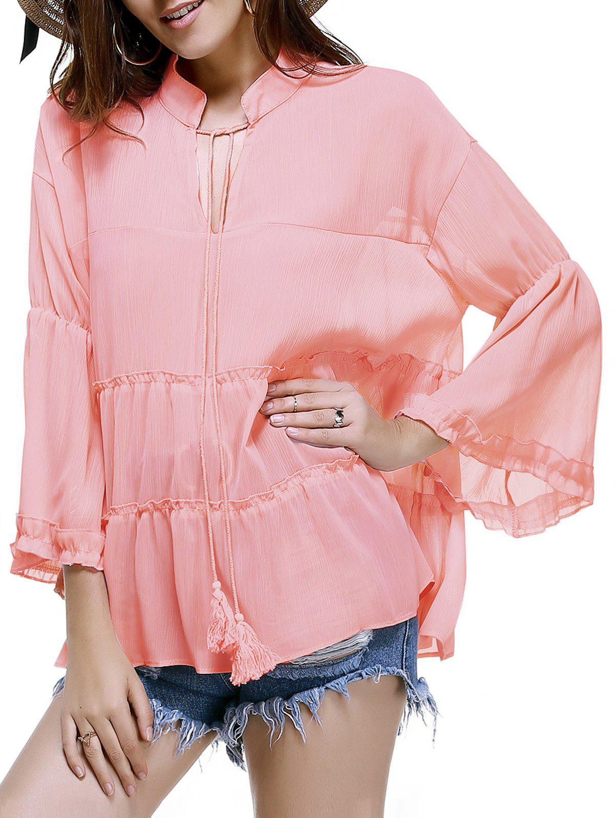 Trendy Plus Size Tassels Design Solid Color Blouse For Women - PINK 3XL