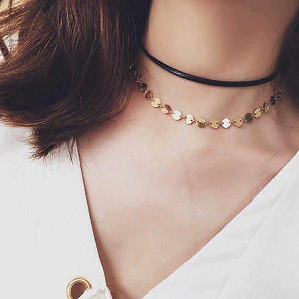 Disc Charm Choker Necklace - BLACK