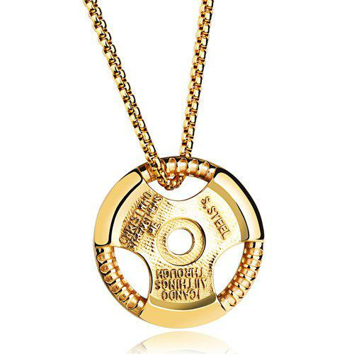 Chic Alloy Round Necklace For Men - GOLDEN
