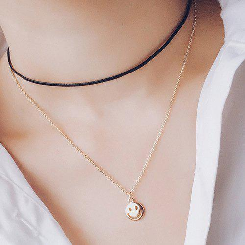 Layered Cut Out Happy Face Choker Necklace - GOLDEN
