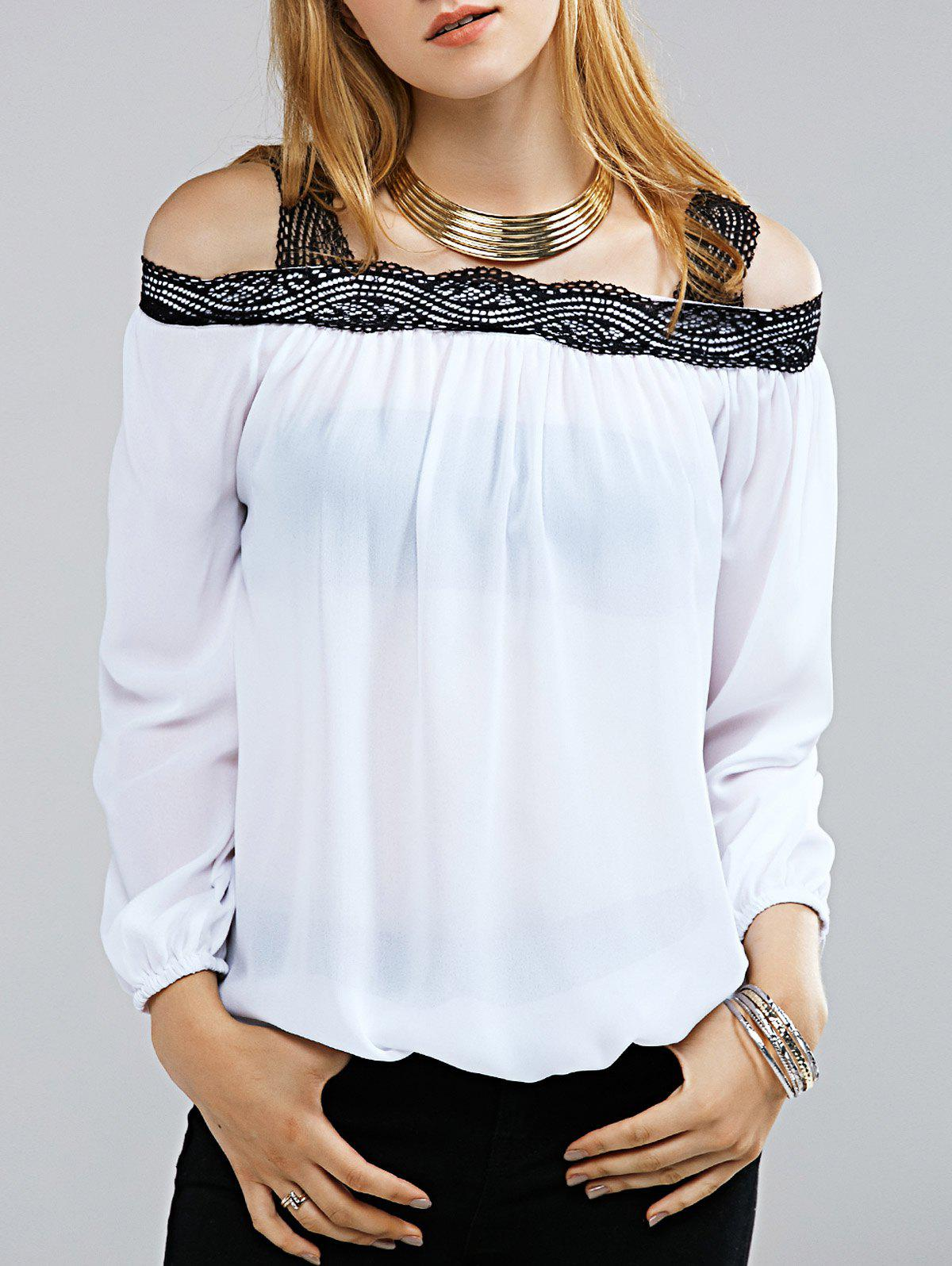 Stylish Off The Shoulder Long Sleeve Lace Decorated Blouse For Women - WHITE XL