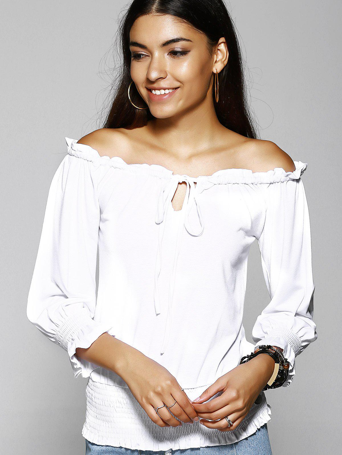 Stylish Off The Shoulder Pure Color T-Shirt For Women - WHITE L