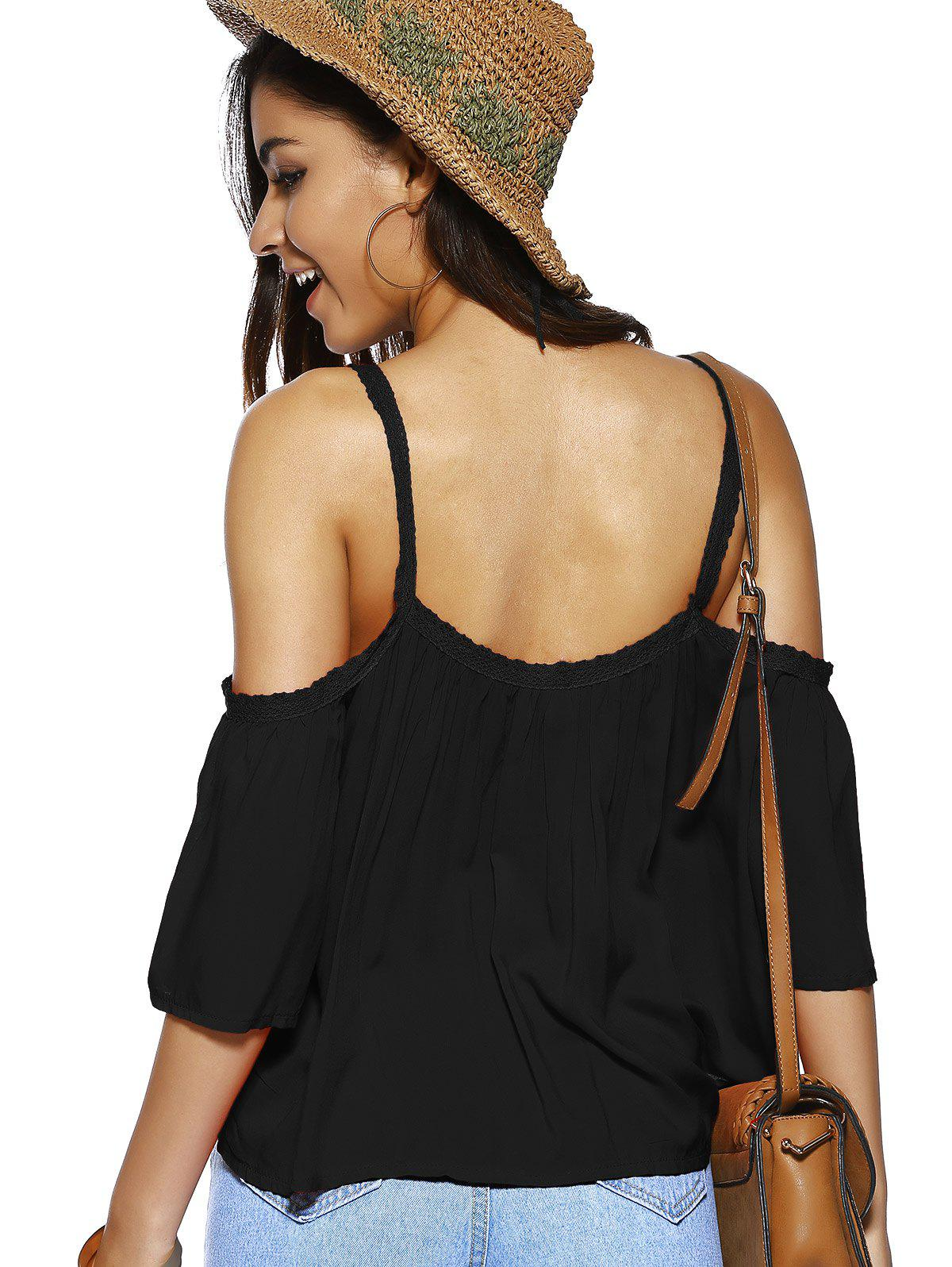 Spaghetti Strap Solid Color Loose Fitting Blouse - BLACK S