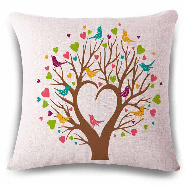 Abstract Heart Shape Tree Birds Color Drawing Pattern Linen Pillowcase pastoral birds pattern cushions cover pillowcase