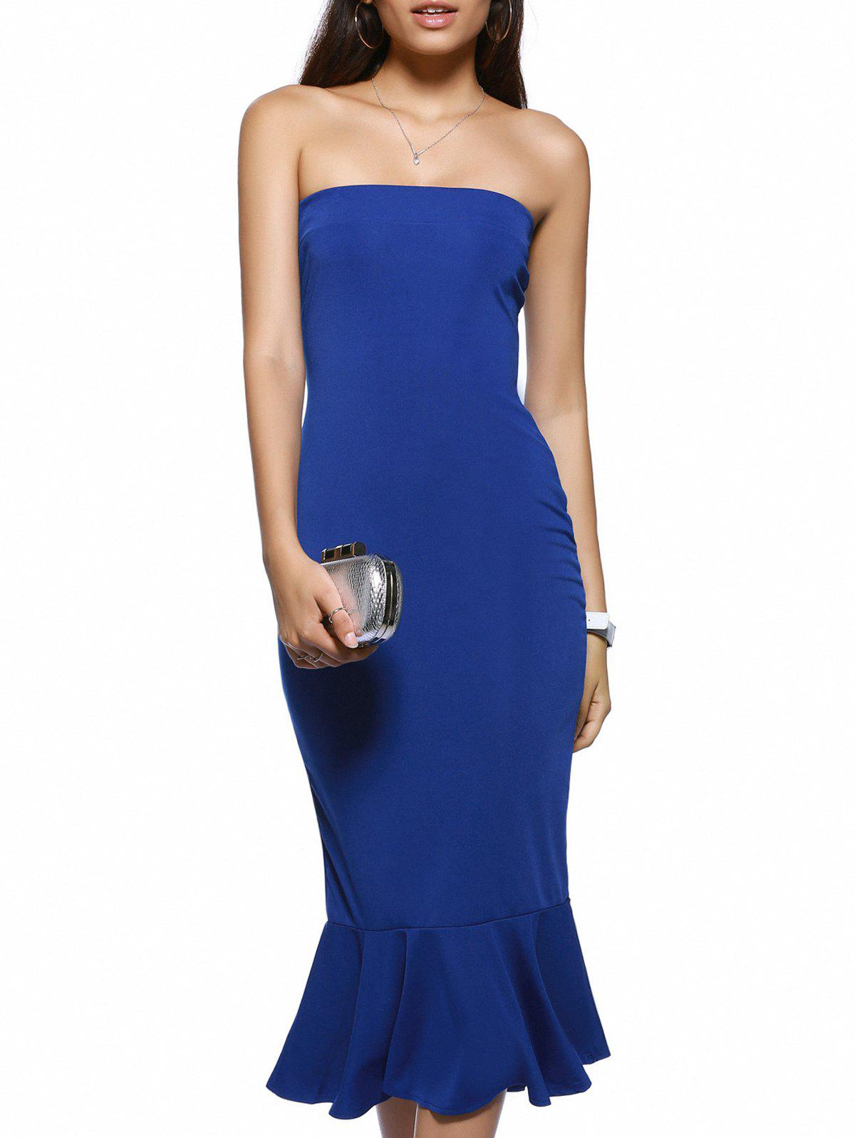Trendy Strapless Solid Color Backless Bodycon Dress - BLUE XL