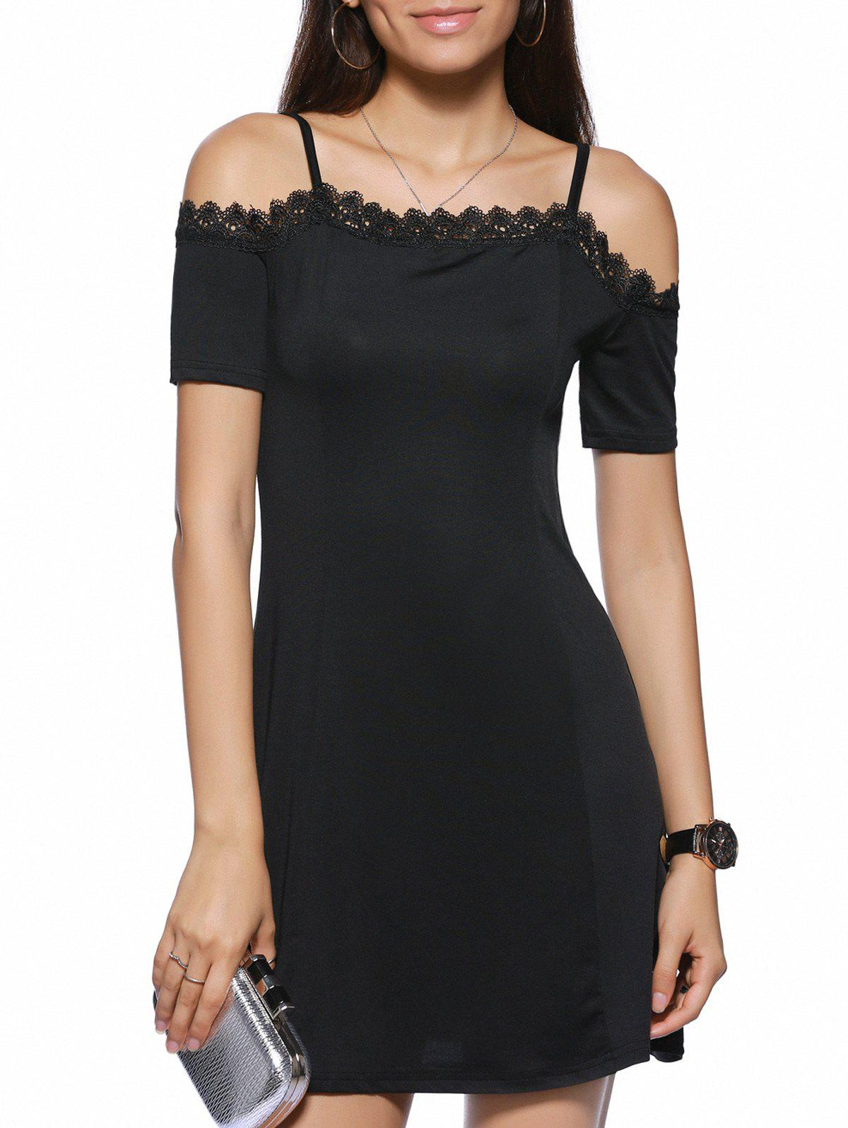 Spaghetti Strap Black Lace Spliced Sheath Dress