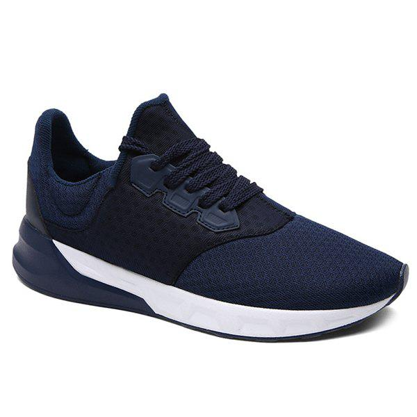 Fashionable Solid Color and Mesh Design Men's Athletic Shoes - BLUE 40