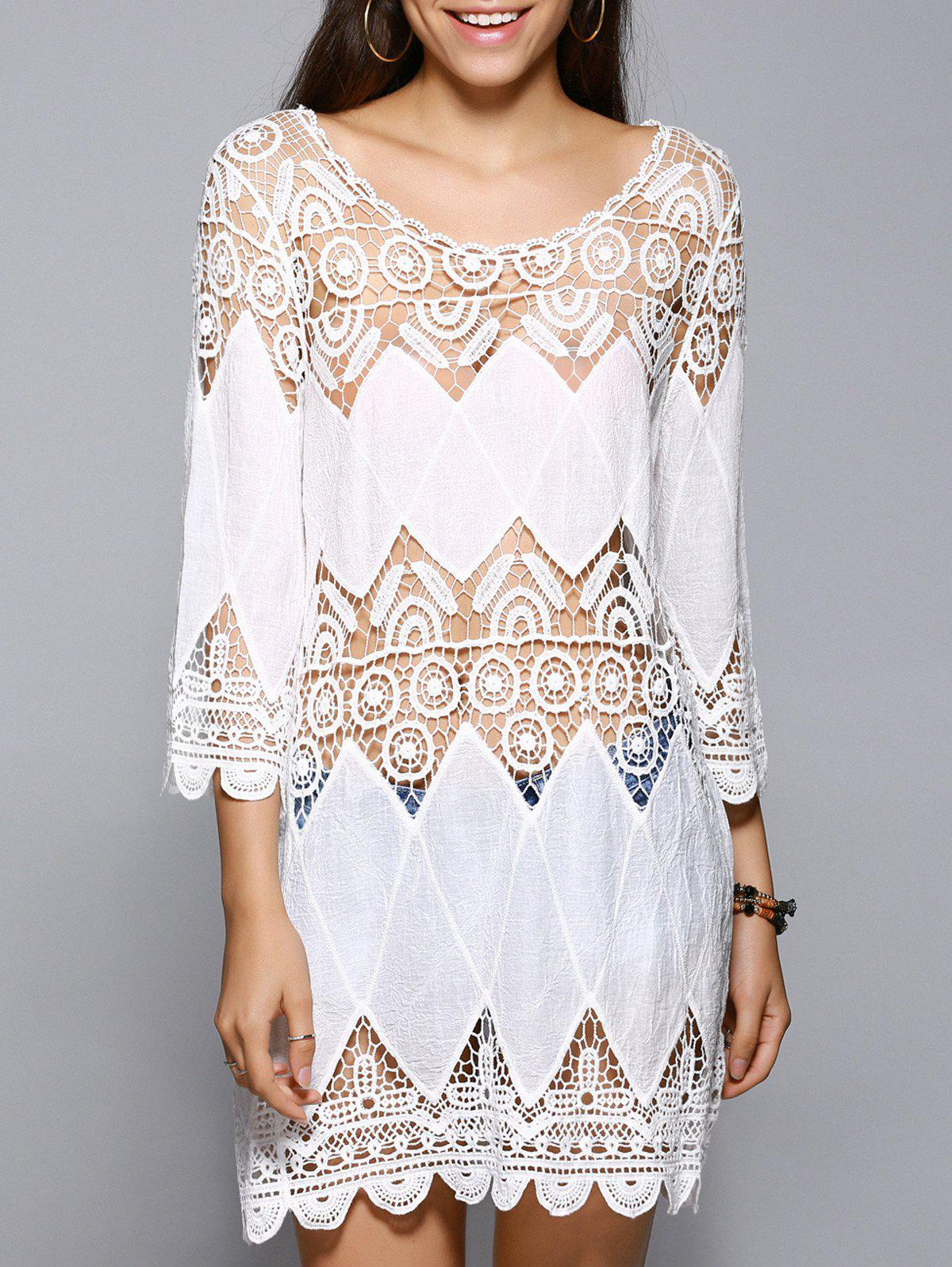 White 3/4 Sleeve Lace Spliced Hollow Out Cover-Up - WHITE L