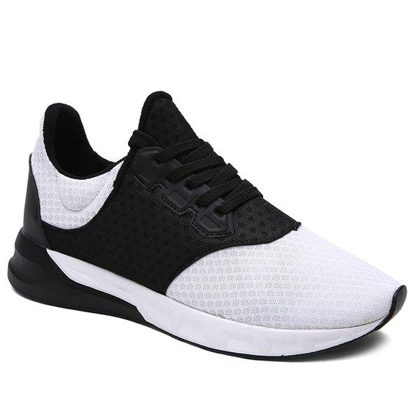 Fashionable Colour Block and Mesh Design Men's Athletic Shoes - WHITE/BLACK 40