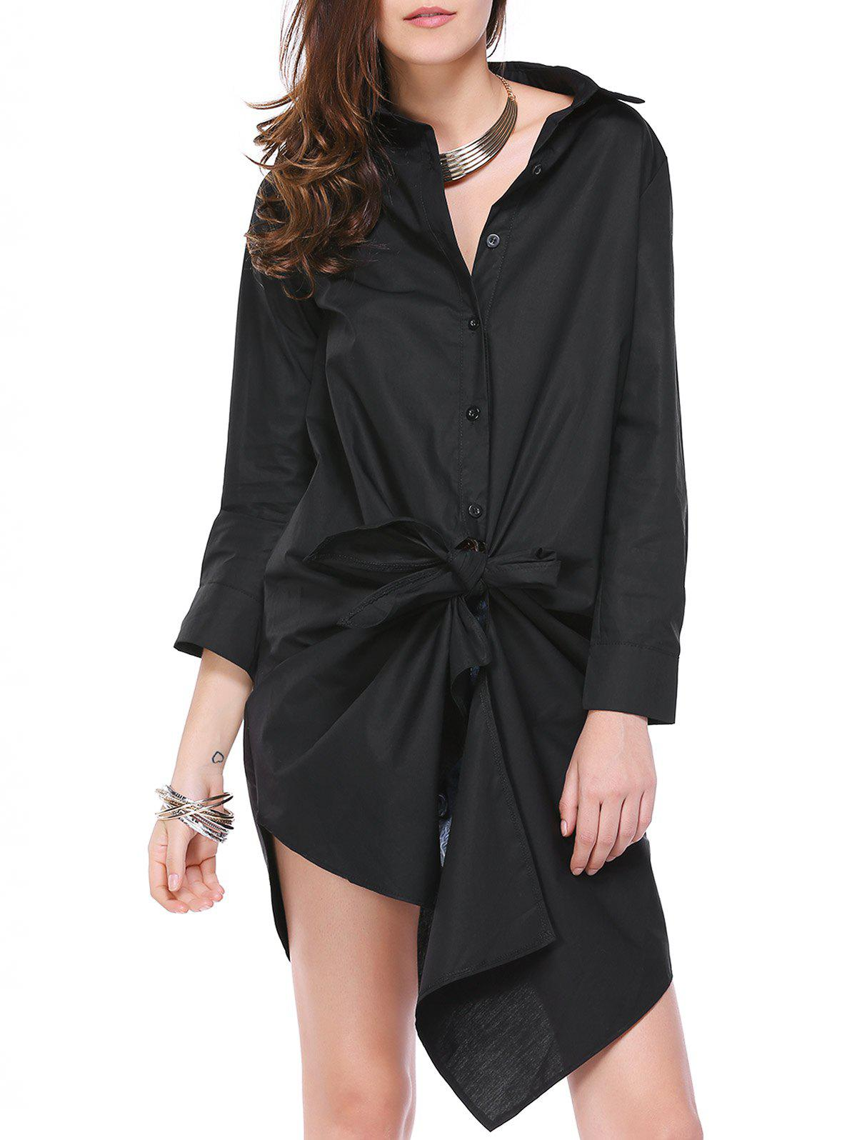 Refreshing Women's Irregular Solid Color Loose Shirt - BLACK M