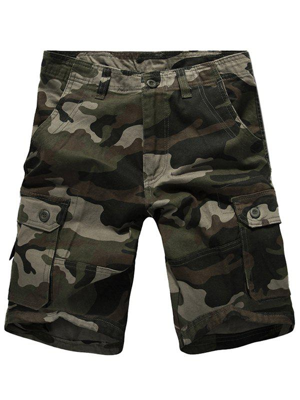 Men's Casual Camo Multi-pockets Cargo Shorts - GREEN 29