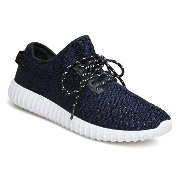 Sports Style Hollow Out and Solid Color Design Men's Casual Shoes - DEEP BLUE 40