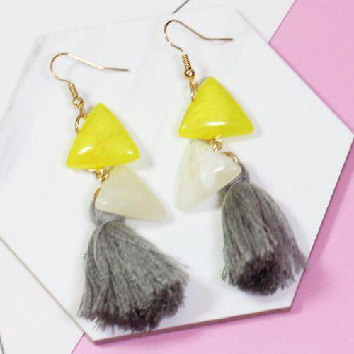 Vintage Faux Stone Triangle Tassel Drop Earrings - LIGHT GRAY