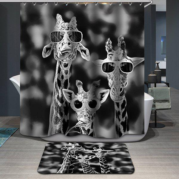 Novelty Giraffe Printing Waterproof Shower Curtain - COLORMIX