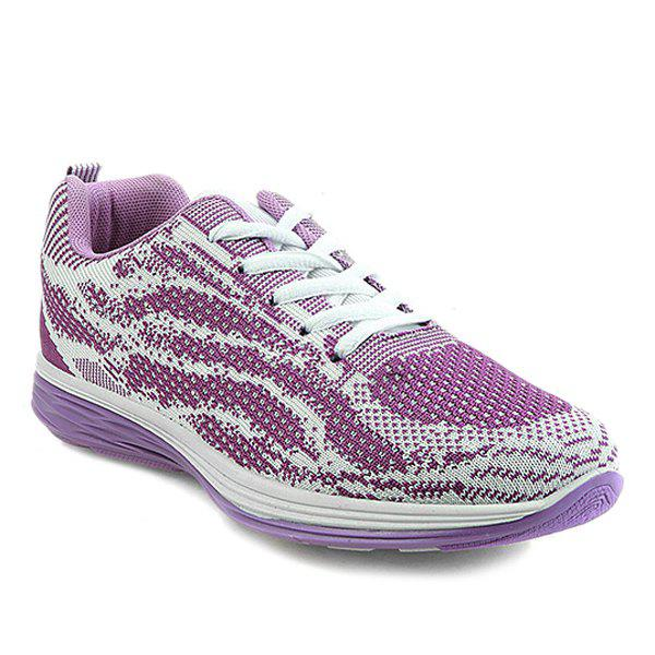 Stylish Breathable and Tie Up Design Women's Athletic Shoes - 39 PURPLE