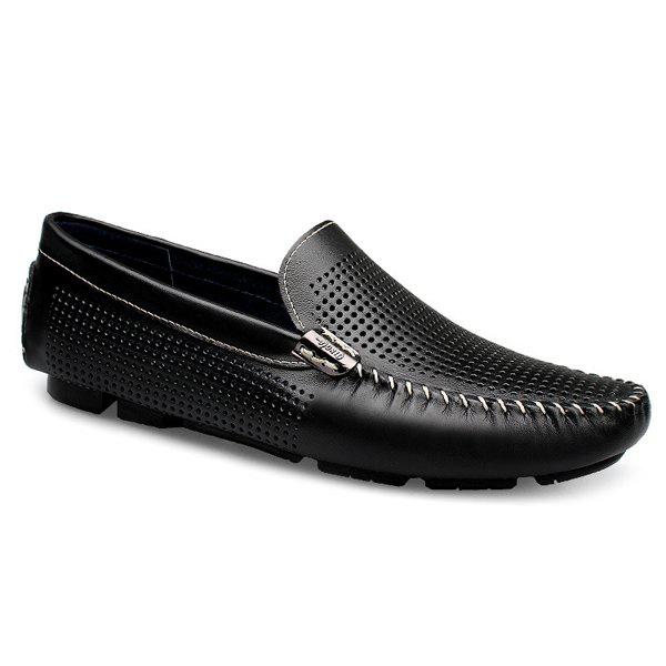 Leisure Hollow Out and Solid Color Design Men's Loafers - BLACK 43