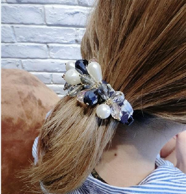 Graceful Teardrop Faux Pearl and Crystal Charming Hair Claw For Women - CADETBLUE