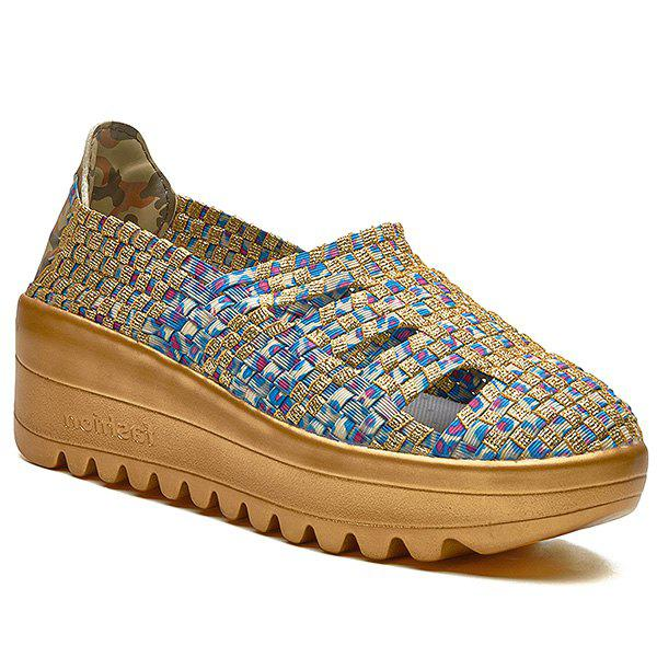 Trendy Hollow Out and Weaving Design Women's Athletic Shoes - BLUE/GOLDEN 38