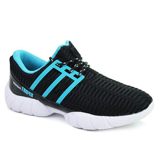 Fashionable Mesh and Lace-Up Design Men's Athletic Shoes - BLUE/BLACK 44