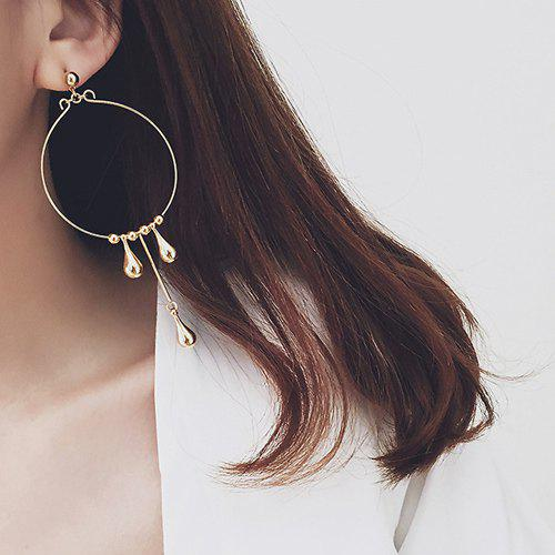Pair of Gorgeous Big Circle Teardrop Beads Earrings For Women - CHAMPAGNE