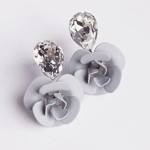 Flower Faux Crystal Stud Earrings - LIGHT GRAY