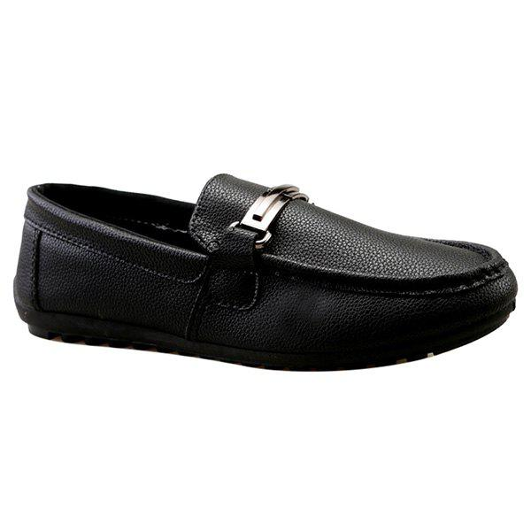 Fashion Solid Colour and Metal Design Men's Casual Shoes - BLACK 43