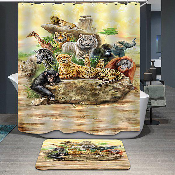 Hot Sale Animal World Pattern Printing Waterproof Shower Curtain - COLORMIX