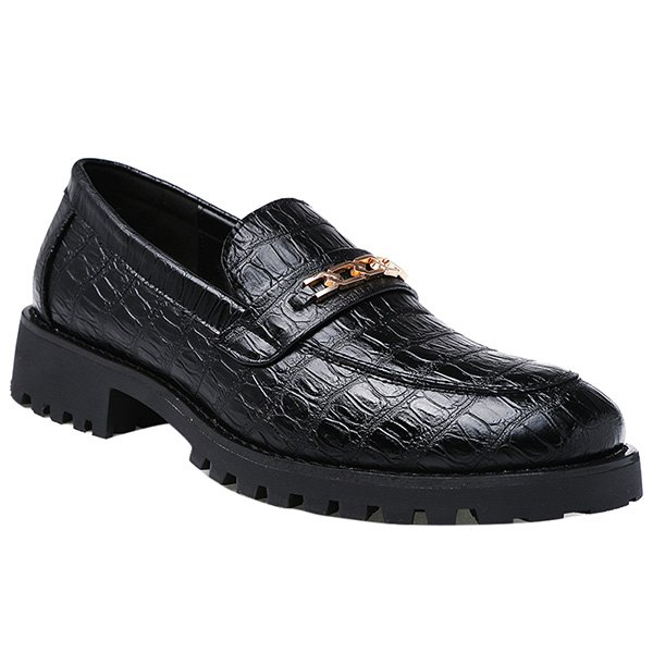 Trendy Black Color and Embossing Design Men's Formal Shoes - BLACK 43